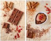 Chocolate Bar with Cinnamon and Pomegranate — Stock Photo