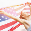 Beautiful Young Woman with USA Flag — Stock Photo #49156031