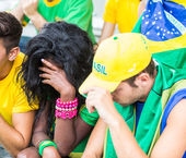 Sad Brazilian Supporters at Stadium — Stock Photo