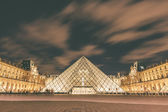 Louvre Museum at night, long exposure — Stock Photo