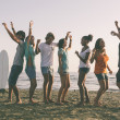 Group of Friends Having a Party on the Beach — Stock Photo #49338379
