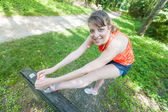 Beautiful Young Woman Doing Stretching Exercises — Stock Photo