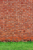 Brick wall background with grass — Stock Photo