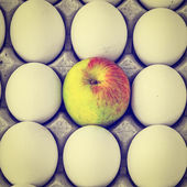Eggs and Apple — Stock Photo
