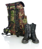 Backpack and hiking boots — Stock Photo