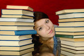 The girl and books. — Stock Photo