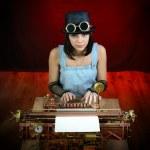 Steam punk girl with Typewriter. — Stock Photo