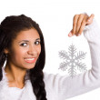 Girl with snowflake — Stock Photo #3810448
