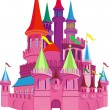 Stock Vector: Fairy-tale Pink Castle