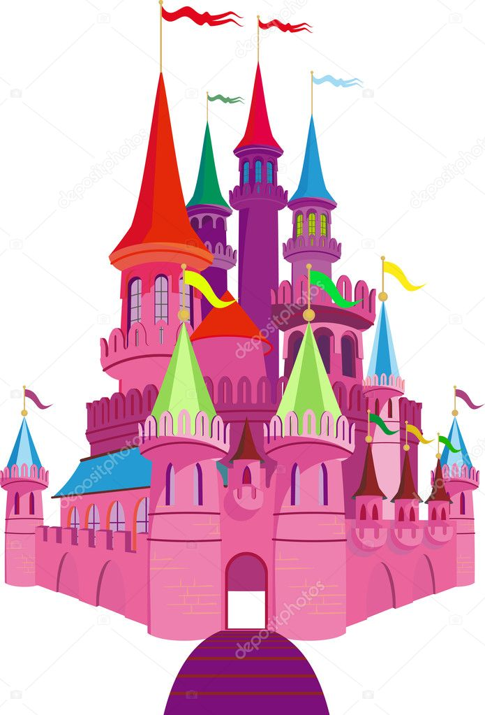 Pink Fairy-tale Princess Castle on white background  Stock Vector #12656082