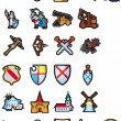 Set of medieval icons - Stock Vector