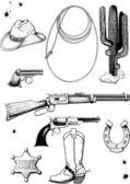 Vahşi batı kovboy ve aksesuar koleksiyonu — Stok Vektör