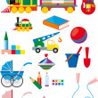 Stock Vector: Set of children toys