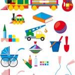Набор детей игрушки — Cтоковый вектор