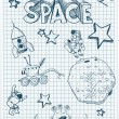 Stock Vector: Sketch illustration of space themed