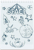Sketch illustration of space themed — Vector de stock