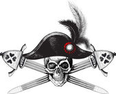 Skull in the captain hat and two crossed swords — Stock Vector