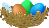 Three colored eggs lie in a nest Easter illustration — Stockvektor