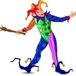 Jolly Joker in a bright dress — Stock Vector