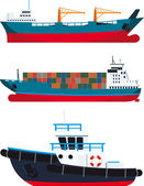 Cargo Vessels and tugboat — Stock Vector
