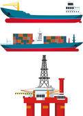 Cargo ships and oil platform — Stock Vector