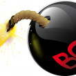 Round bomb with a burning wick — Imagen vectorial