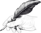 Drawing of hand with a feather pen — 图库矢量图片