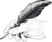 Zeichnen von hand mit einer schreibfeder — Stockvektor