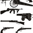Silhouettes of classic firearms — Stock Vector