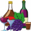 Stock Vector: Still Life with bottles of wine