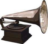 Old obsolete gramophone — Stock Vector