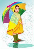 Little girl under umbrella — Stock Vector