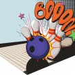 Retro styled bowling game picture — Stock Vector #41327877
