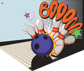 Retro styled bowling game picture — Stock Vector