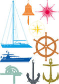 Marine and yachting symbols — Stock Vector
