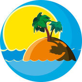 Island with palm trees — Stock Vector