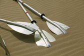 Kayak paddles laying in the sand — Stock Photo