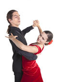 Young couple dancing waltz — Stock Photo