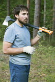 Lumberman with an axe — Stock Photo