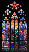 Stained-glass window in St Vit Cathedral, Prague — ストック写真