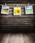 Old photos on vintage wood background — Stock Photo