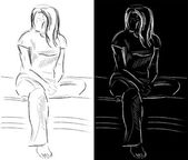 Sitting young woman — Vector de stock