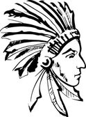 Indian chief (black and white) — Stock Vector