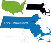 Massachusetts map — Stock Vector