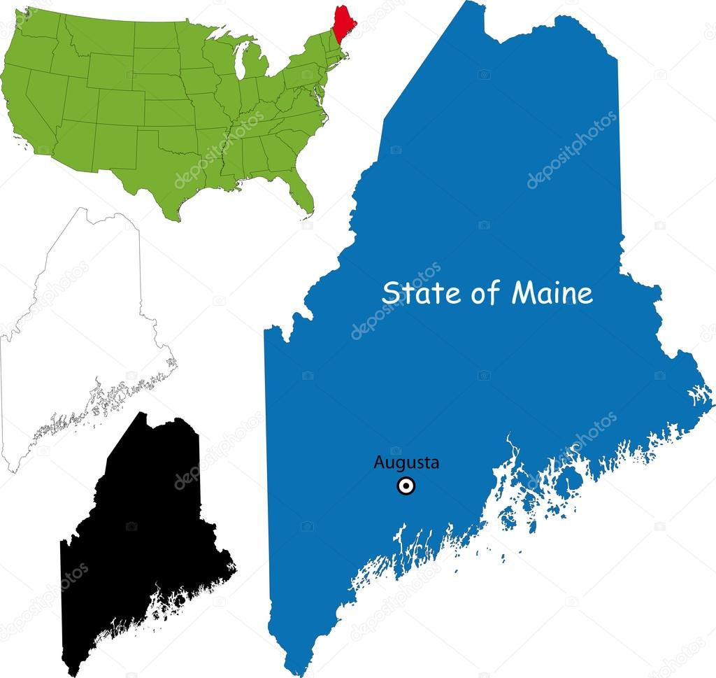 Map  Stock Vector - Maine on map of usa