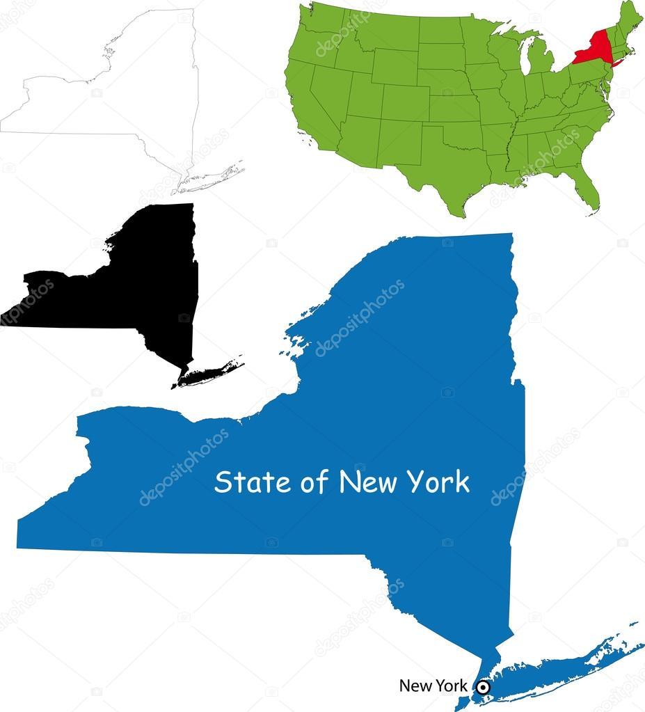 Staat New York Kaart Van de Staat Van New York