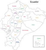 Contour Ecuador map — Stock Vector