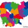 Colorful Cambodia map — Grafika wektorowa