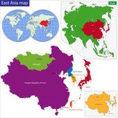 östra asien karta — Stockvektor
