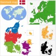 Denmark map — Vettoriale Stock #38624589